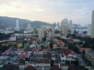 Landscape of Residential houses and commercial buildings at Georgetown, Penang, Malaysia