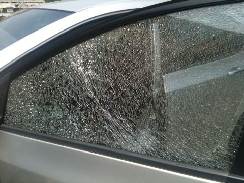 Car Side glass window shattered
